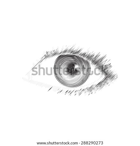 Vector illustration of human eye in vintage engraved style. Isolated on white background. Element of design