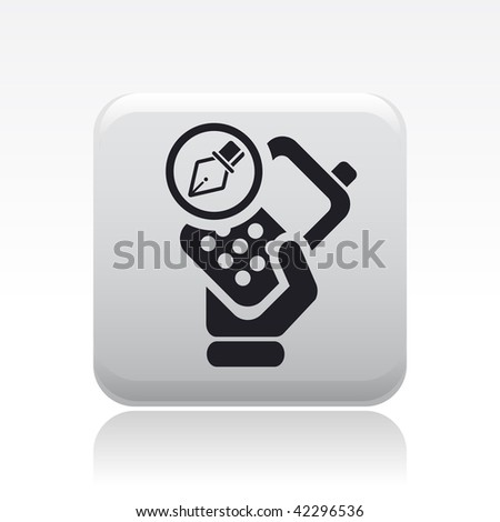 Vector illustration of icon isolated in a modern style, depicting a hand holding a mobile phone with the drawing symbol