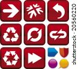 Vector illustration of icon set: arrows and buttons. Only global colors. CMYK. Easy color changes. - stock vector
