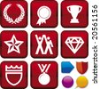 Vector illustration of icon set: win, and buttons. Only global colors. CMYK. Easy color changes. - stock vector