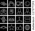 Vector illustration of icons on the topic of social network - stock vector