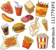 Vector illustration of junk food set - stock photo