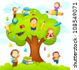 vector illustration of kids studying on tree with different education object - stock vector