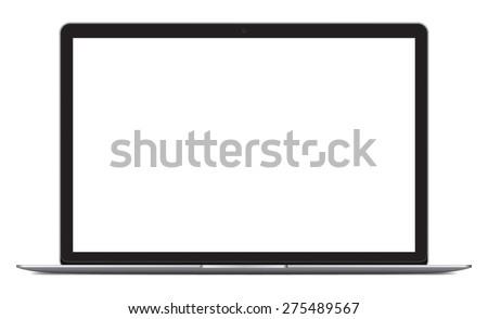 Vector illustration of laptop with blank screen isolated on white background