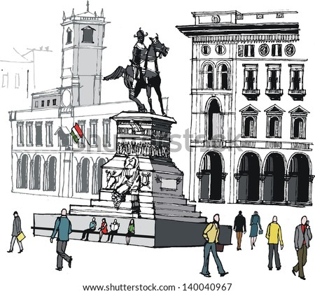 Vector illustration of main city square and pedestrians, Milan, Italy.
