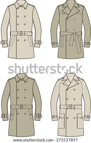 Vector illustration of men's double-breasted trench coat. Outer clothing