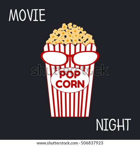Vector illustration of movie night concept. Popcorn bag and glasses on a black background