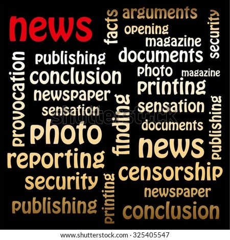 Vector illustration of News. Red and golden words on a black background