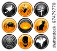 Vector Illustration of nine different Halloween icons. - stock vector
