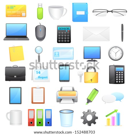 vector illustration of office object collection