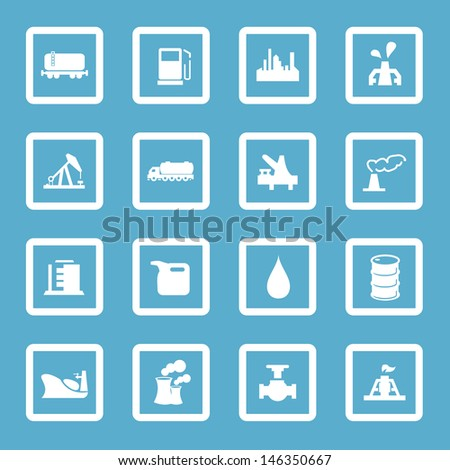 Vector illustration of oil and gas industry icons.