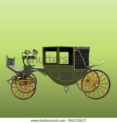 Vector illustration of old horse-drawn cart
