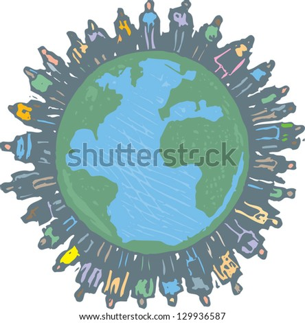 Vector illustration of over populated Earth