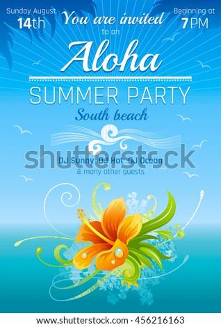 Vector illustration party invitation design hawaiian stock vector vector illustration of party invitation design for hawaiian luau beach party with sea background palm stopboris Gallery