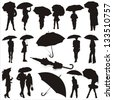 vector illustration of people under umbrella - stock vector