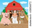Vector illustration of pigs cows and horses - stock photo