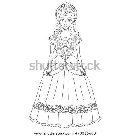 Vector Illustration Of Princess In Ancient Dress 19 A Century Cute Lady Noblewoman