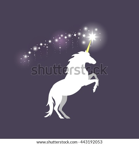 Vector illustration of rearing unicorn on dark blue background. Elements for design.