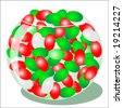 Vector illustration of red and green jellybeans. - stock photo