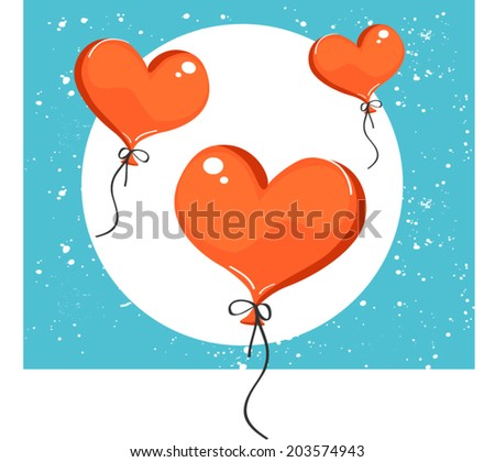 Vector illustration of red heart-shaped balloons. Isolated on background