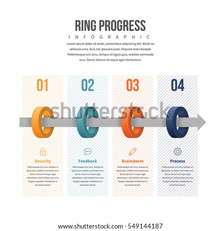 Vector illustration of ring progress infographic design element.