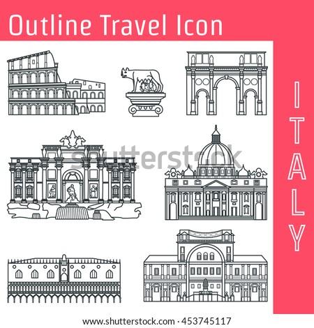 Vector illustration rome landmark outline design stock for Landmark design