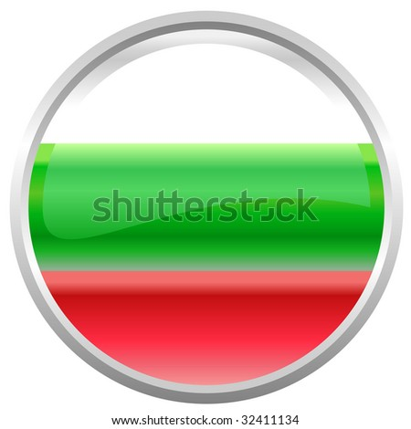 Vector Illustration of round button decorated with the flag  Republic of Bulgaria