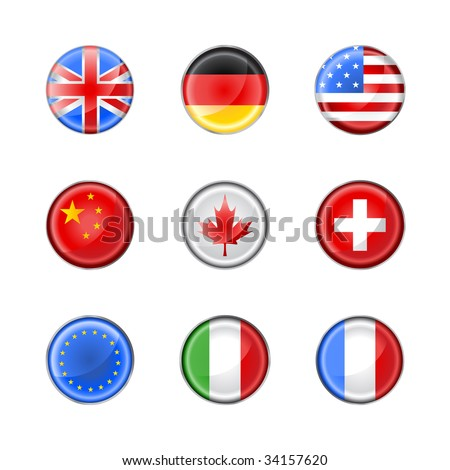 Vector illustration of round buttons set, decorated with the flags of different countries