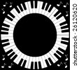 Vector illustration of round piano keyboard frame. - stock vector
