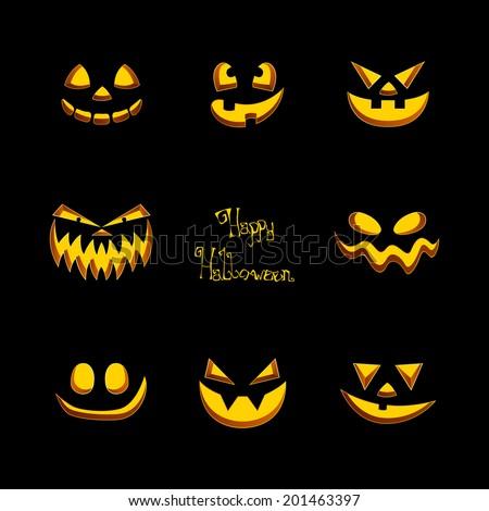 Scary Halloween Pumpkins Faces Vector Set Stock Vector 156722852 ...