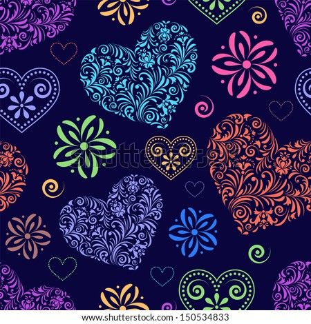 Vector illustration of seamless pattern with abstract colorful  hearts