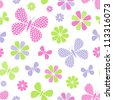 Vector illustration of seamless pattern with colorful flowers and butterflies - stock vector