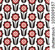 Vector illustration of seamless pattern with flowers - stock vector