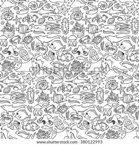 Vector illustration of seamless pattern with sea and ocean elements