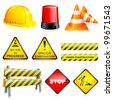 vector illustration of set of under construction object - stock photo