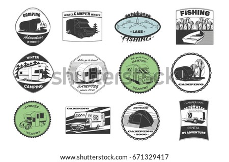 Vector Illustration Of Set Vintage Camping And Outdoor Adventure Emblems Logos Badges