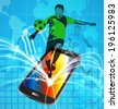Vector illustration of  soccer  background with mobile phone - stock