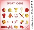 Vector illustration of sport icons on white-pink background - stock photo