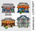 Vector illustration of store, gas station, cafe, fast food and house - stock vector