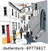 Vector illustration of street with old buildings in a Portugal village. - stock vector