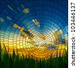 Vector illustration of sunset in blue sky in grass stained glass window. - stock photo