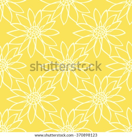 Vector illustration of the floral seamless pattern on the yellow background.