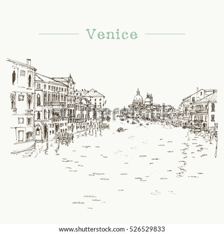 Vector illustration of the Grand Canal in Venice, Italy with boats, houses and water, drawn in sketch style. Freehand illustration.