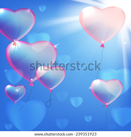 Vector illustration of the heart balloons on the light pink background