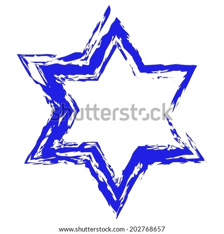 Vector illustration of The six -pointed blue star on a white background