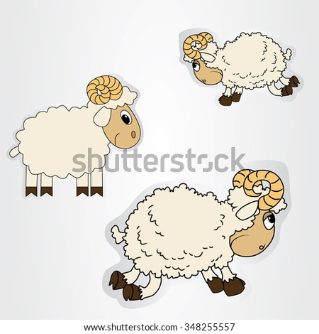 Vector illustration of the stickers with cartoon sheep.