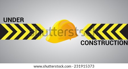 Vector illustration of the under construction mesage with a protection helmet