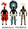 Vector Illustration of three male Costumes for Festival, Mardi Gras, Carnival, Halloween or more. - stock photo