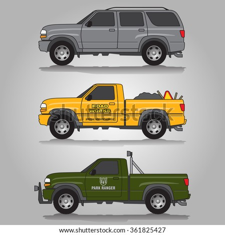 Vector illustration of three variations of terrain vehicles - SUV and pick-up trucks including gray 5-door SUV, road works truck and park ranger truck