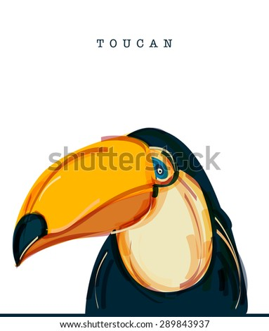 Vector illustration of Toucan, a  tropical fruit-eating bird with a massive bill and typically brightly colored plumage.